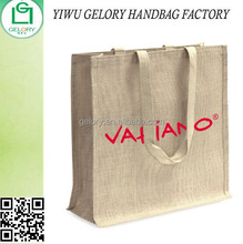 Natural Laminated Grocery jute tote bag with webbing handle custom Burlap shopping bag with OEM logo