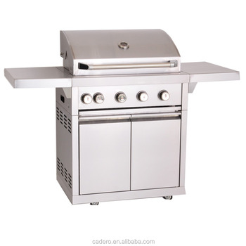 CBU-401-A Full stainless steel gas grill with side burner and rear infrared burner, and rotisserie