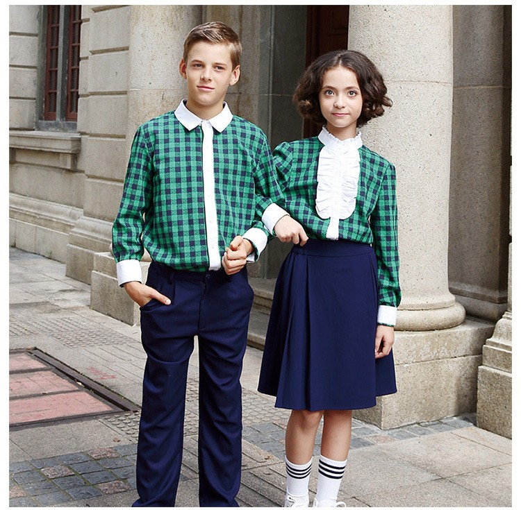 2017 New Style Custom Navy Blue Private School Uniform Pleat Skirt