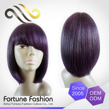 African American human hair natural purple color short bob wigs