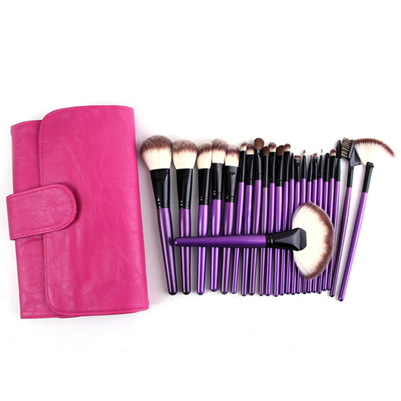 fashionable purple handle 24pcs cosmetic makeup brushes set private label