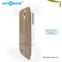 Wood pattern PU+Rubberized pc leather back hard case for Samsung S4 S6