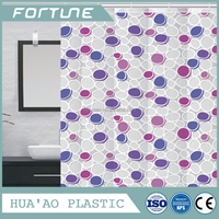 circle design three colorful peva shower curtain changing flexible