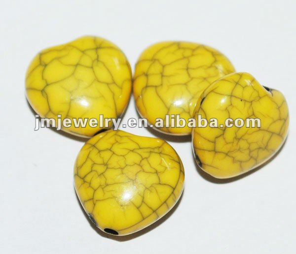 shaped crack yellow heart beads for making necklace J.M.R.B-702