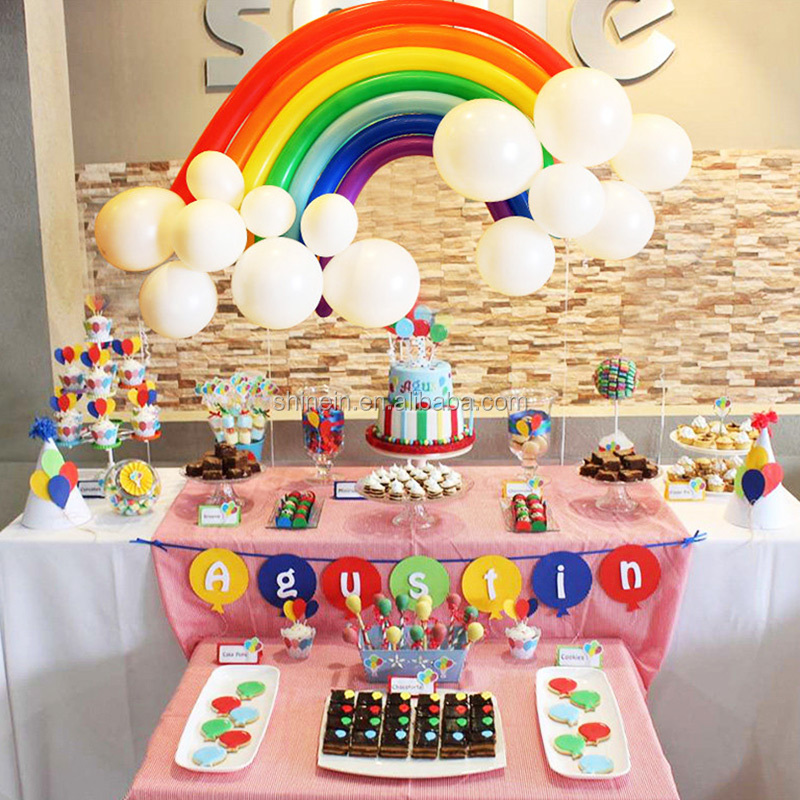 Hot selling baby shower decoration rainbow latex balloon kids birthday party long latex rainbow balloon