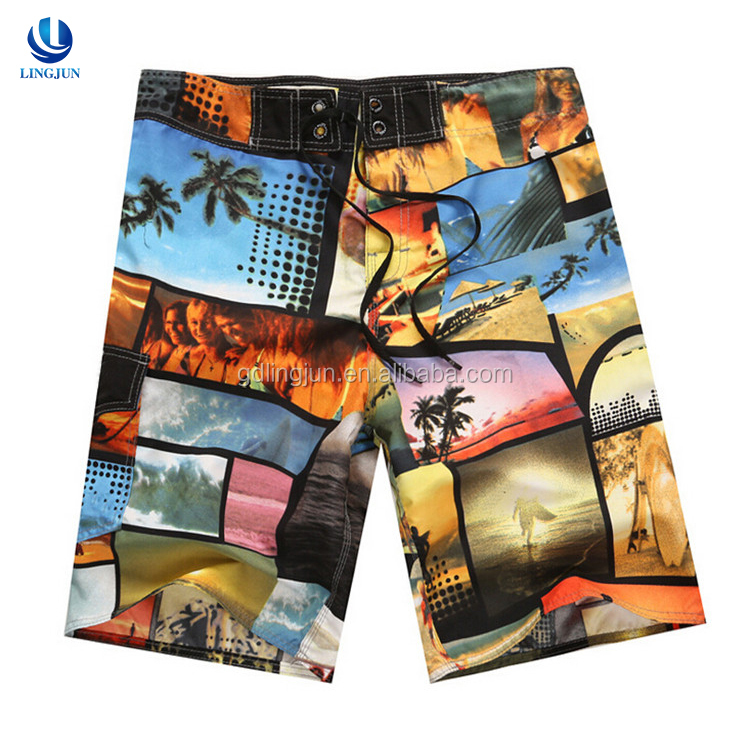 wholesale OEM custom Sublimation printing swim shorts for men/sexy men beach pants