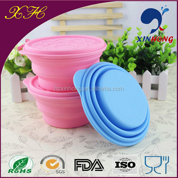 High Quality FDA&LFGB Approval Portable Silicone Folding Bowls Set