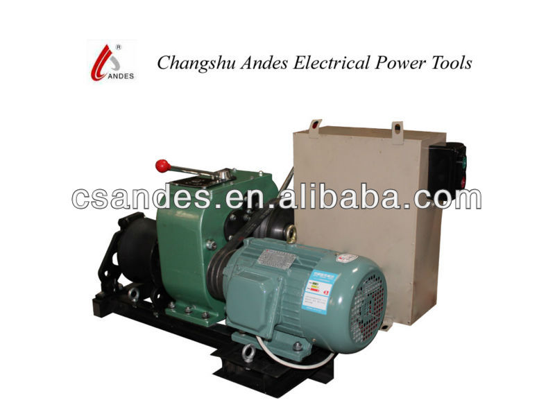 Electric engine powered wire rope drum hoist winch