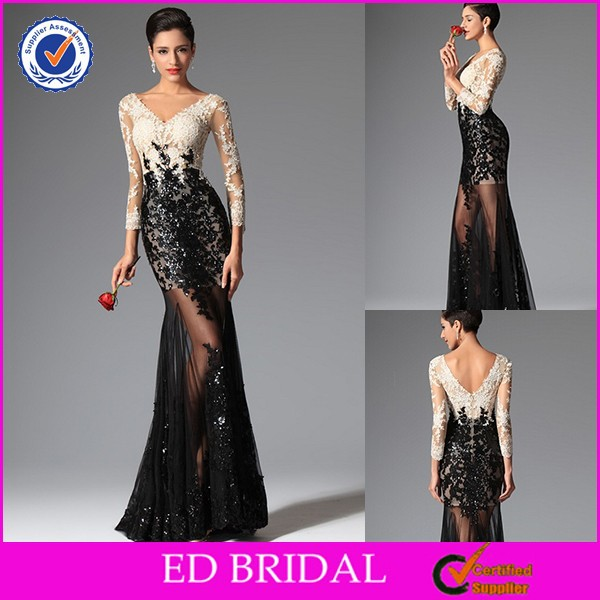 2015 Newest Style Cocktail Dress Sheath V Neck Sequins Sexy Long Sleeve Lace Evening Gown