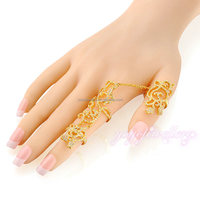 hot trend jewelry 2015 pave crystal latest fashion gold two finger rings jewelry