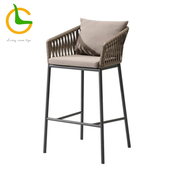 Foshan wholesale big lots used commercial modern rope woven restaurant high bar stool