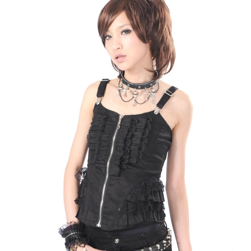 Gothic/Punk/Lolita /Twill Black Vest from GLP 61159