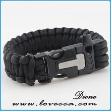 Newest knife making fire and whistle-function whistle survival climbing cord bracelet