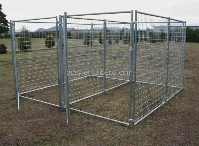 2 run galvanized metal tube outdoor fence dog kennel run