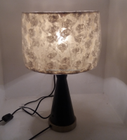 Fashion Table Lamp Indoor Lighting Ceramic Base Faux Silk Shade with Flower Desk Lamps