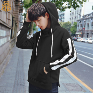 New Design Drop Shoulder Fleece Crew Round Neck Sweatshirt Stripe Sleeve Split Hem Custom Mens Pullover Plain Black Hoodies