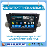 Hot sale 10.1'' in dash touch screen car radio for Toyota Highlander 2012 car dvd player with gps