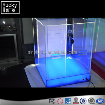 Large Acrylic Pull Tab Display case with LED Backlit display and colored light base