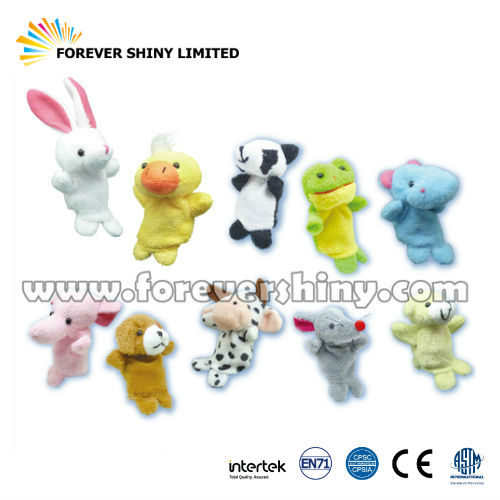 Novelty Gift Small Capsule Toy for Kids Bed Story Theatre Time Plush Zoo Animal Finger Puppets for Vending Machine