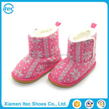Customised fashionable winter warm fur plush toddler kids snow boots