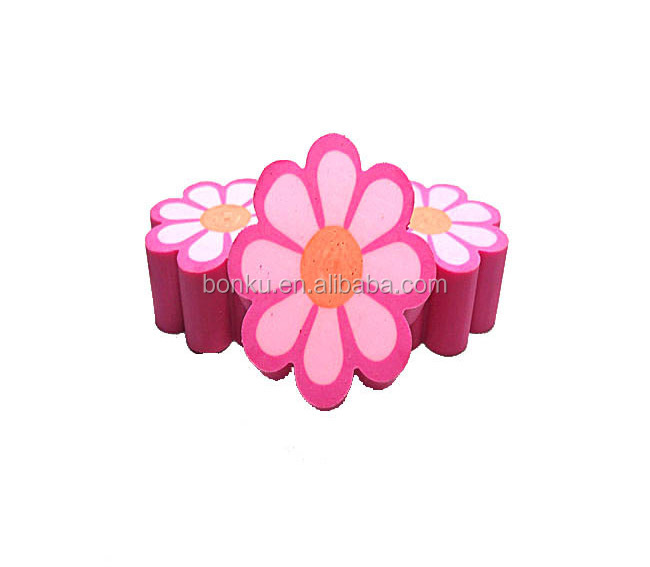 printed flower design advertising custom rubber eraser