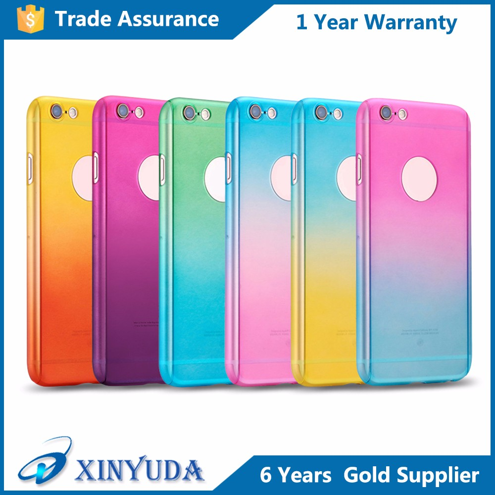 Wholesale 360 Full Coverage Gradient Color Phone Protective Case with Glass Screen Protector PC Back Cover for iPhone 6 6S