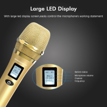 NEWGOOD intelligent Professional LCD screen UHF handheld wireless microphone with wake up sleep system control PA speaker TV