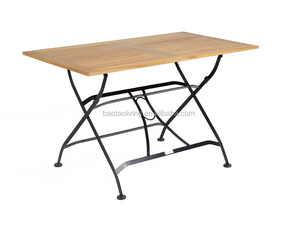 folding iron table with polywood table top  flat dining