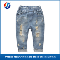 2015 kids fashion denim children's clothing baby boys girls jeans for children brand slim casual pants kids ripped jeans