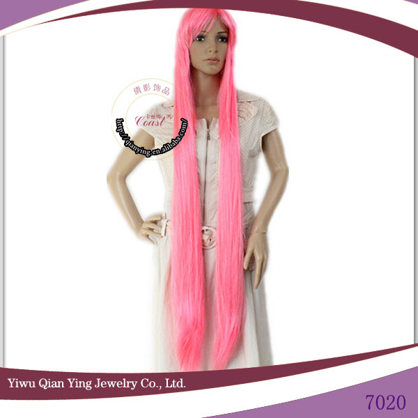 high temperature fiber beauty straight extra long cosplay pink wigs