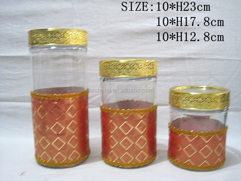 Glass storage jar leather storage tank