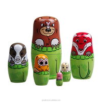 OEM Welcomed 6PCS Lovely Animal Wooden Russian Nesting Dolls Matryoshk Traditional Matryoshka Handmade Toy