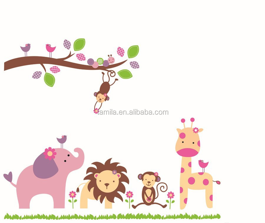 Jungle animal lion monkey elephant zoo wall stickers for kid room removable vinyl wall decals