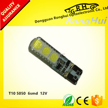 Top quality car parts led bulb T10 5050 6smd flash angryly with silica gel for car