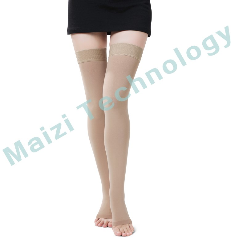 medical compression stockins Thigh length with silicone band with FDA certificate