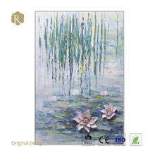 Handmade white lotus flower oil painting on MDF