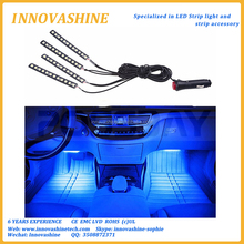 Music Atmosphere 4Pcs 12V Remote Control RGB auto LED Strip color changing led interior car light with Cigarette Lighter