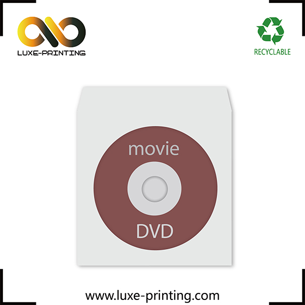 CD DVD white paper sleeves with clear window and flap
