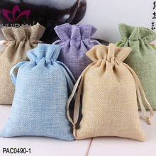 4 Sizes In Stock Custom Linen Drawstring Printed Pouch Jewelry Jute Bag