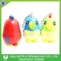 Promotion Funny Animals 3D Parrot Mini Voice Recorder Keychain