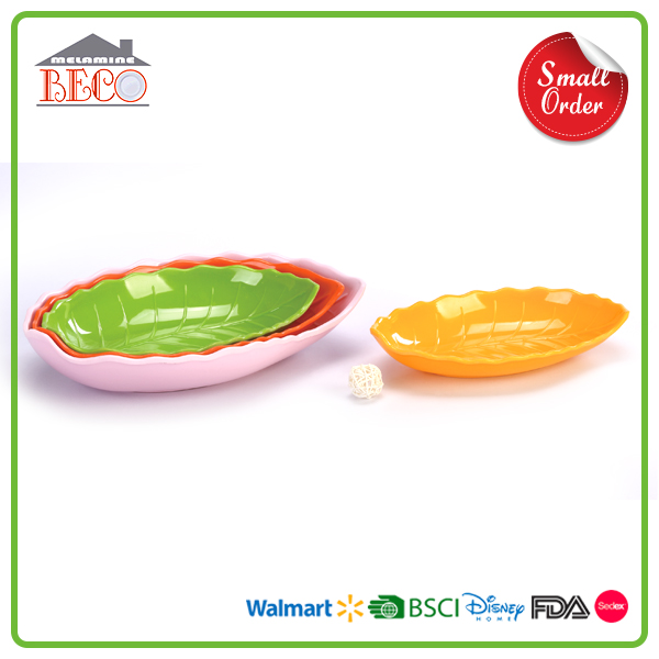 Melamine Supplier Plastic Melamine Colorful Leaf Plate With Small MOQ
