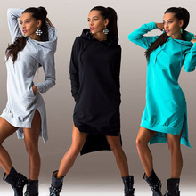 European and American Fashion Design Women's irregular hooded Sweatshirts long-sleeved sweater dress for womem