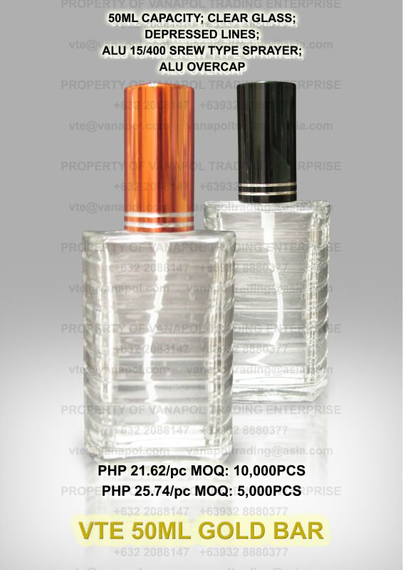 PERFUME BOTTLES (50ML GOLD BAR CLEAR)