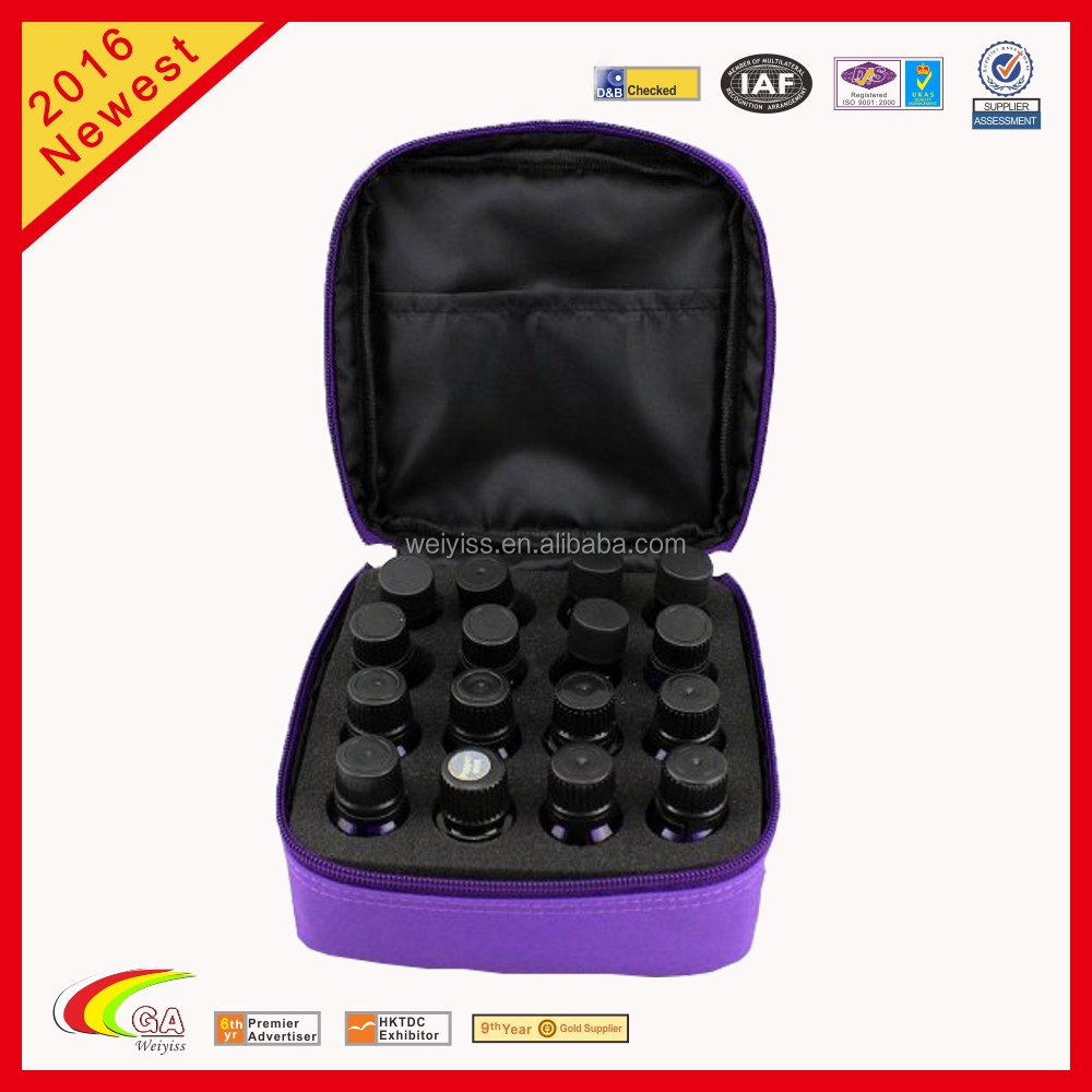 China Supplier 16-Bottle Essential Oil Purple Cotton Double Zipper Storage Carrying Case With Foam Insert