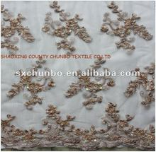 100%polyester mesh with ribbon embroidery and based handwork fabric for fashion garments