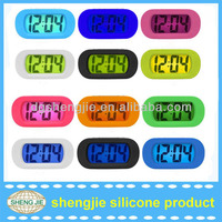 New Digital LCD Snooze Alarm clock with Back Light Big digits time date temperature sign silicone mini alarm clock