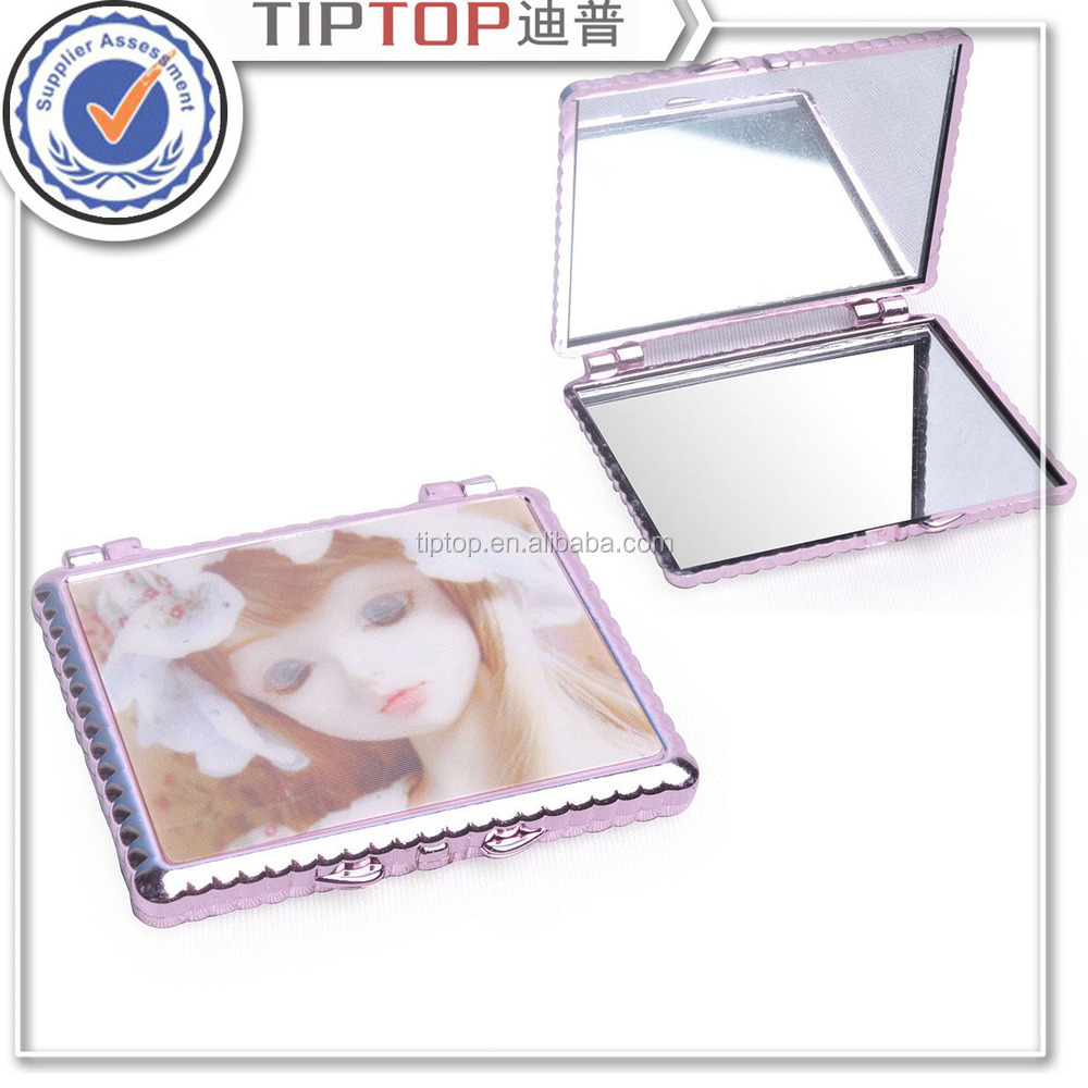fancy metal square pocket makeup mirror for promotion gift