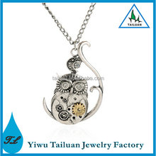 The European and United States Hot Retro Steampunk Owl Pendant Necklace