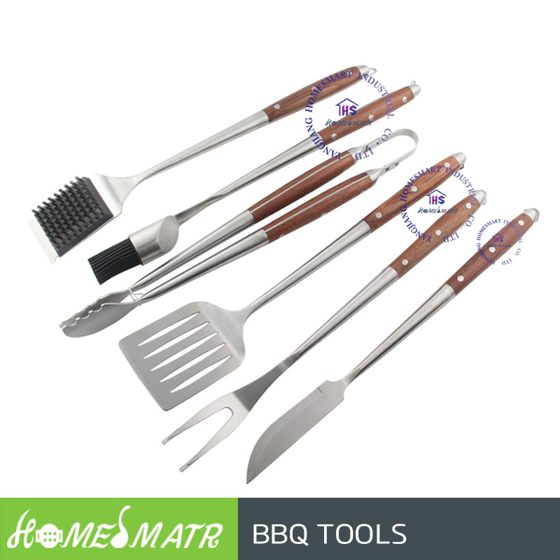 6 pcs wood handle barbecue grilling tools spatula fork tong basting brush BBQ tools set