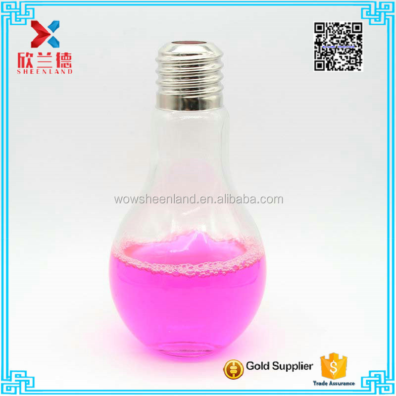 500ml bulb shape glass juice bottle, drinking beverage empty bottles glass